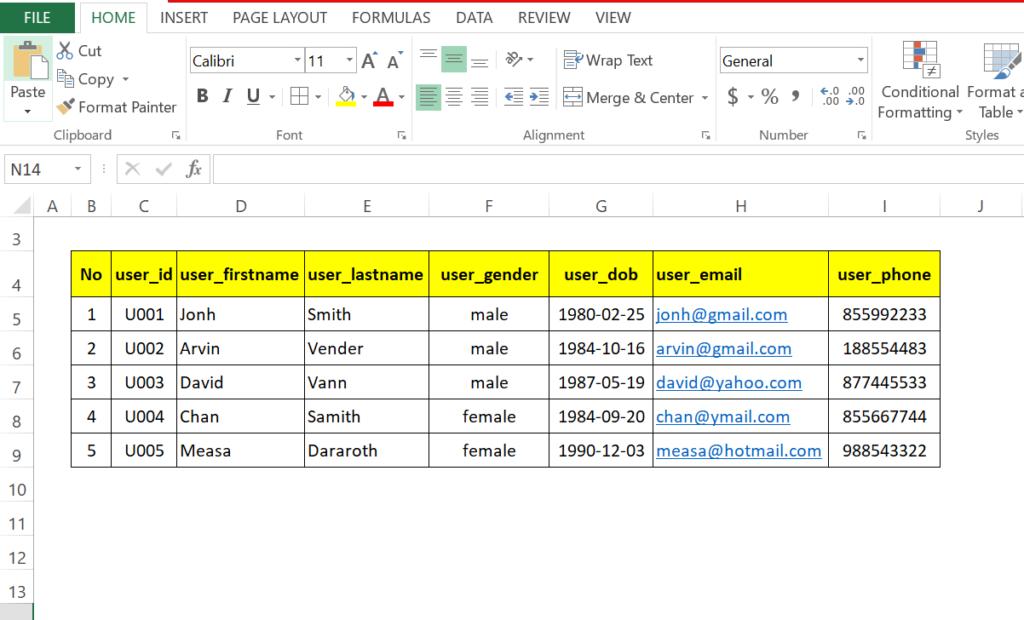 step 1: Generate SQL insert statement in excel worksheet to run in MySql
