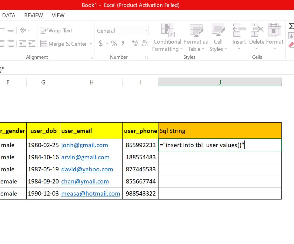 step 11: Generate SQL insert statement in excel worksheet to run in MySql