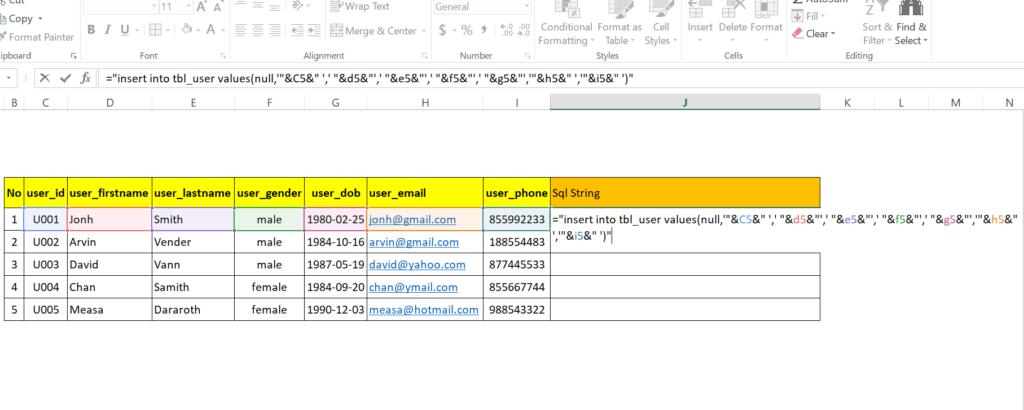 step 17: Generate SQL insert statement in excel worksheet to run in MySql