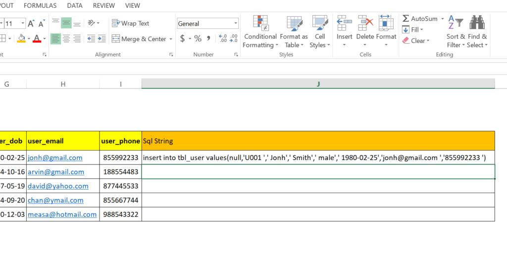step 18: Generate SQL insert statement in excel worksheet to run in MySql