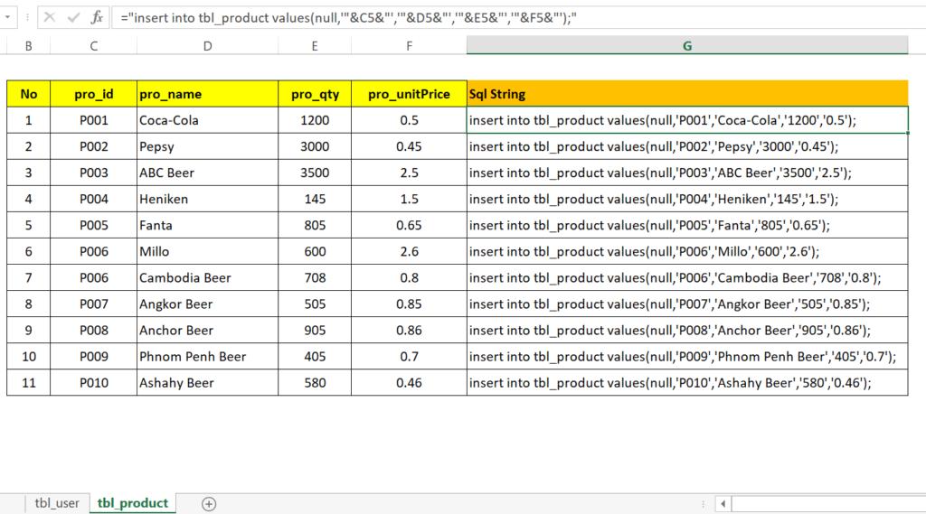step19-2: Generate SQL insert statement in excel worksheet to run in MySql