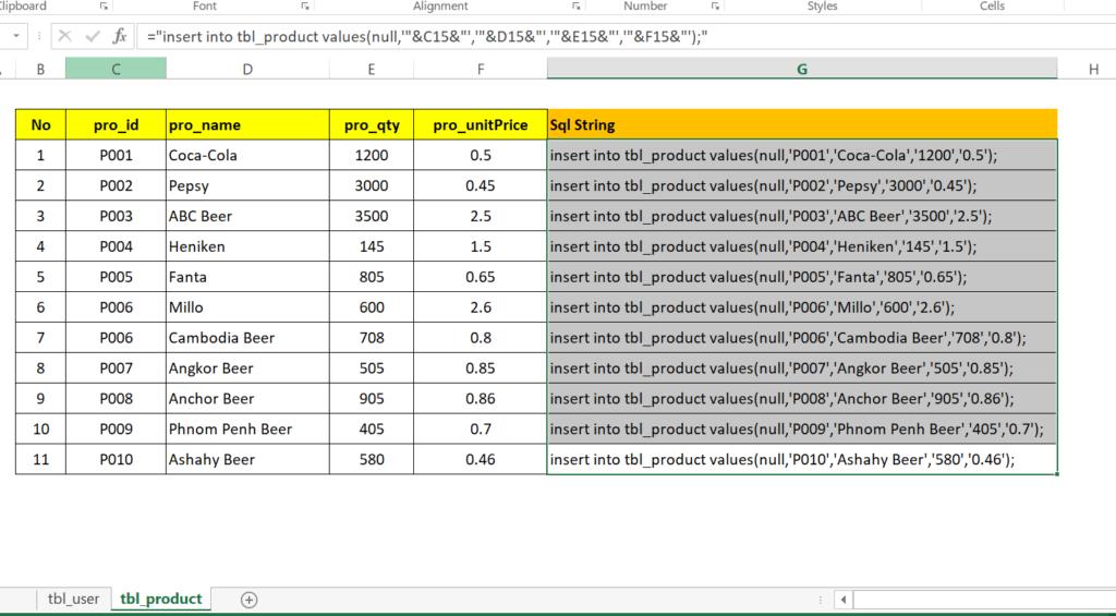 step 19-3: Generate SQL insert statement in excel worksheet to run in MySql
