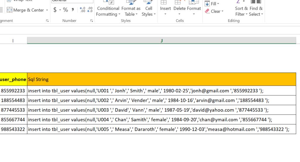 step 19: Generate SQL insert statement in excel worksheet to run in MySql