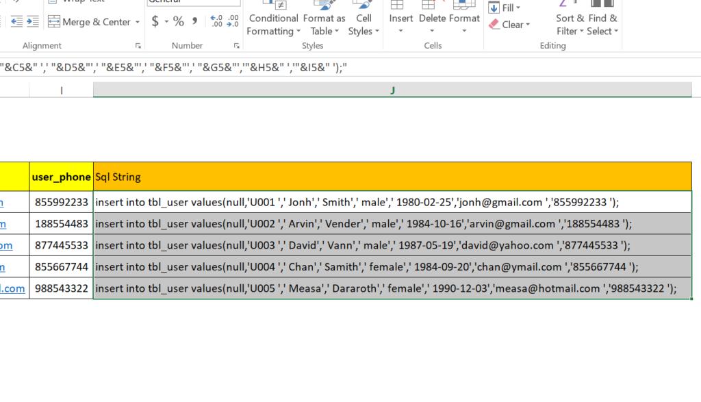 step 20: Generate SQL insert statement in excel worksheet to run in MySql