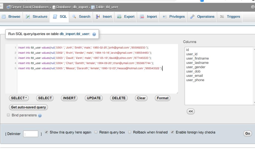 step 21: step 19-3: Generate SQL insert statement in excel worksheet to run in MySql