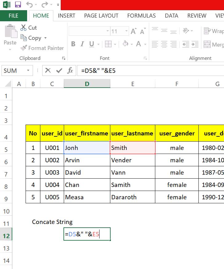 step 9: Generate SQL insert statement in excel worksheet to run in MySql